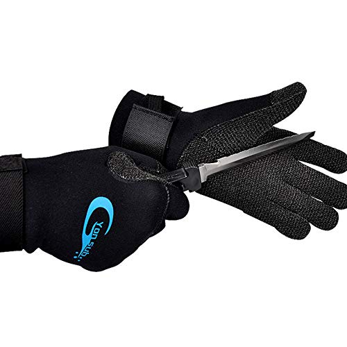 LYY 3mm Neopren-Tauchhandschuhe, Kevlar-Gewebe Anti-Rutsch-Anti-Piercing und verschleißfest, geeignet für Schnorcheln,L -