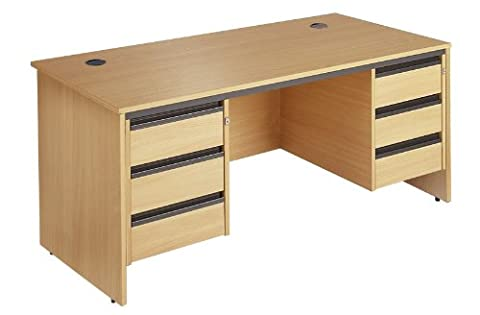 Minuet 1532 Straight Desk with Slab Leg Frame with 2 X 3 Drawer Fixed Pedestal - Beech