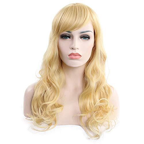 XIAOLULU Perücken natürlich Lange lockige Haar-Licht-goldene hitzebeständige Draht-synthetische Perücke für Frauen, helles goldenes Tägliches Party Cosplay ()