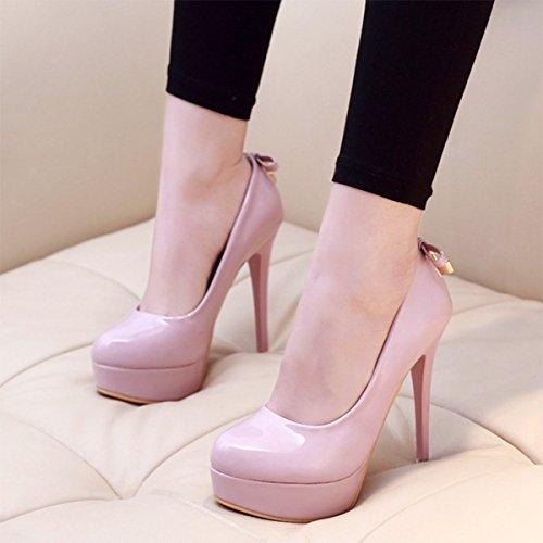 Damen Pumps Slip On Plattform High Heels Lackleder mit Gold Schloss Party Abend Ballsaal OL Arbeitsschuhe Pink