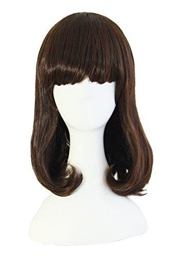 MapofBeauty Mode flach Pony locken lange Haare täglich Perücke (Dunkel Braun)