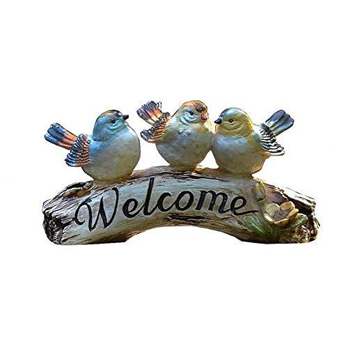 Garten Ornament Kleiner Vogel Willkommen Statuen Zeichen Miniatur Harz Dekor Figur Garten Zubehör Polyresin Skulpturen Dekorative for Home Office Außenhöfe Mini-Welt ( Farbe : C1 , Größe : As shown ) (Vögel Home Dekor)