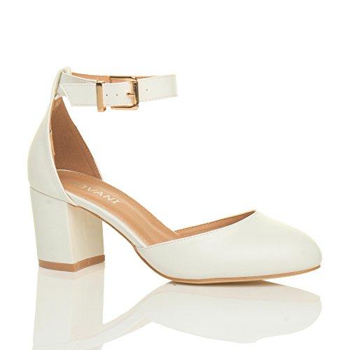 Damen Mitte Blockabsatz Knöchelriemen Schnalle Elegant Pumps Sandalen Größe 7 40