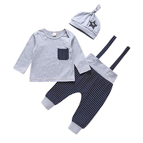 Baby Jungen Kleidung Set 3Pc Neugeborenen Gestreiften Tops T-Shirts Hosen Arbeitskittel Overall Hut Outfits Set, Grau, 0-6 Monate