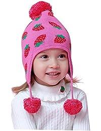 ACMEDE Berretto Neonato Cappello Bambino con Pompon con Paraorecchie Berretto  Cappello Invernali Caldo in Maglia per b8c6d72dbcc4