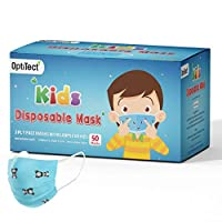 ‏‪Optitect Disposable Kids Face Mask 3 Ply with Ear-Loop, for Boys, 50 Pieces‬‏