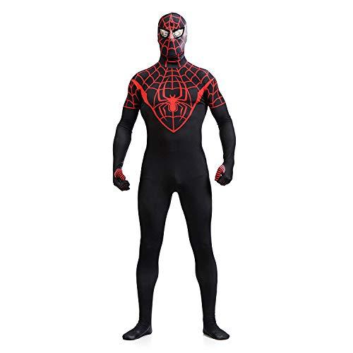 SDFXCV Schwarz Spiderman Superheld Kostüm Erwachsene Unisex Strumpfhosen Cosplay Kostüm Erwachsene Overall Party Outfit Halloween Kleidung Lycra Spandex,Adult-XXXL(Height71-73Inch) (Superhelden Mit Schwarzen Und Weißen Kostüm)