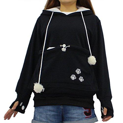 BYSTE Felpa con Cappuccio Donna Autunno Maniche Lunghe Pullover Sweatshirt Hoody Hoodie Canguro marsupio Cat Holder Cappotto Tasca grande Nero