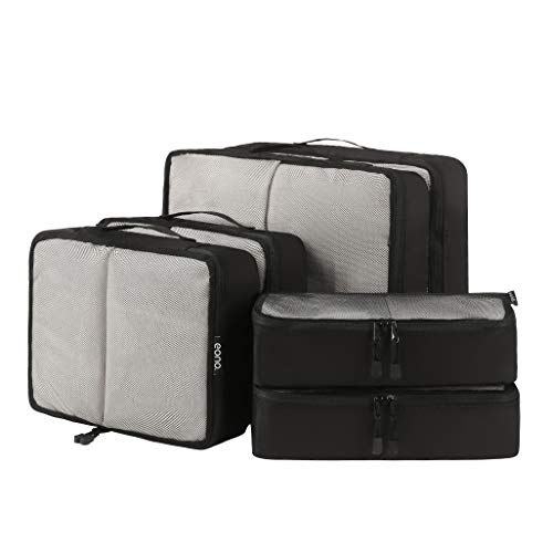 Eono by Amazon - 6 Set Packing Cubes,3 Various Sizes Travel Luggage Packing Organizers Net