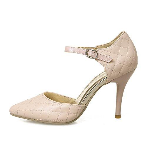 AgooLar Femme Pointu Boucle Pu Cuir Couleur Unie Stylet Chaussures Légeres Rose