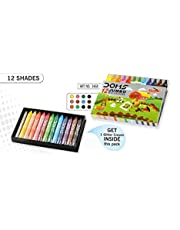 Doms Jumbo Wax Crayons, 12 Assorted Colors, Rich Brighter Shades, Smooth Even Shading