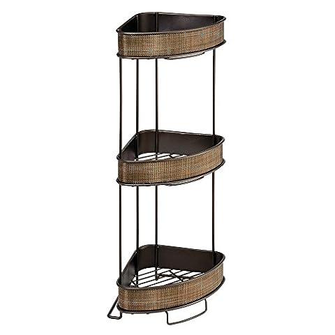 InterDesign Twillo 3-Tier Bathroom Free Standing Corner Shelves,