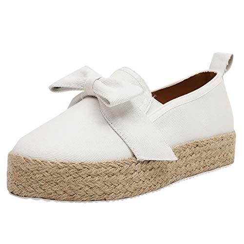 Damen Plateauschuhe Halbschuhe Studenten Bootschuhe Roman Freizeitschuhe Große Größen Bequeme Walkingschuhe Einzelne Schuhe, Weiß