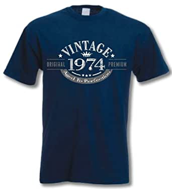 1974 Vintage Year - Aged to Perfection - 43rd Birthday Gift / Present Mens T-Shirt Navy XL