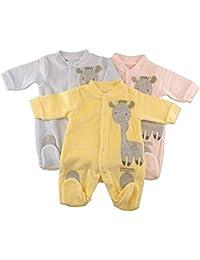 Just Too Cute todo en uno de terciopelo, tamaño grande), diseño de jirafa, multicolor y rodilleras de detalle. Disponible en color rosa color amarillo o azul en tallas recién nacido, 0–3meses, 3–6meses