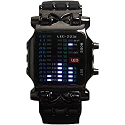 K9Q Mens Fashion Casual LED Indicator Light Binary Black Date Sport Wrist Watch