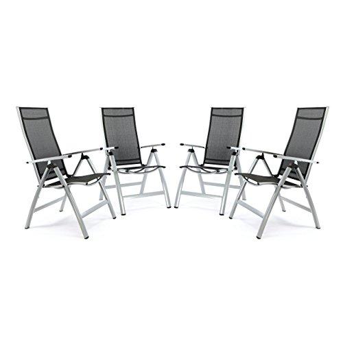 Nexos 4er Set Deluxe Alu Stuhl extrabreit Klappstuhl Gartenstuhl Verstellbar Schwarz Hochlehner XL