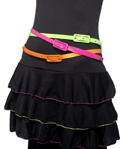 Neon 80s Fancy Dress Belts Set
