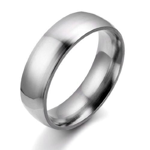 JewelryWe Schmuck 6mm Breite Edelstahl Herren-Ring, Hoch Poliert Dome Silber, Partnerringe Jahrestag Verlobung Hochzeit Band, mit Geschenk Tüte Größe 57