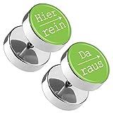 Piercingfaktor Runde Ohrringe Ohrstecker Fake Piercing Ohr Plug Flesh Tunnel Edelstahl Platte Stecker Spruch Hier rein, Da raus 10mm Grün