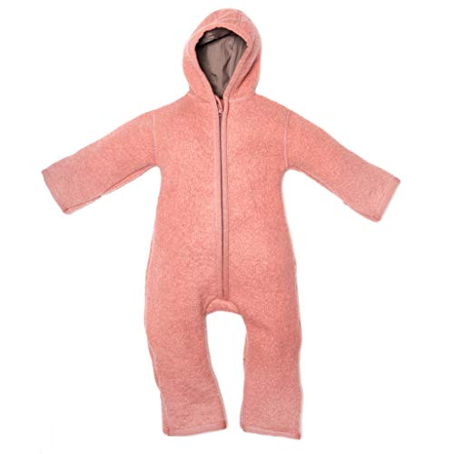 Halfen Walkanzug Baby (100% Made in Germany) - Walk Baby Overall, Babyoverall aus Walkwolle (Bio Natur Schurwolle), Walkoverall mit Kapuze, Farbe: Blush,86/92