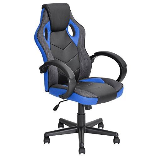 FurnitureR Racing Chair Gaming Style sedia da ufficio con schienale alto ergonomico regolabile girevole in (Sedile In Pelle Task Chair)