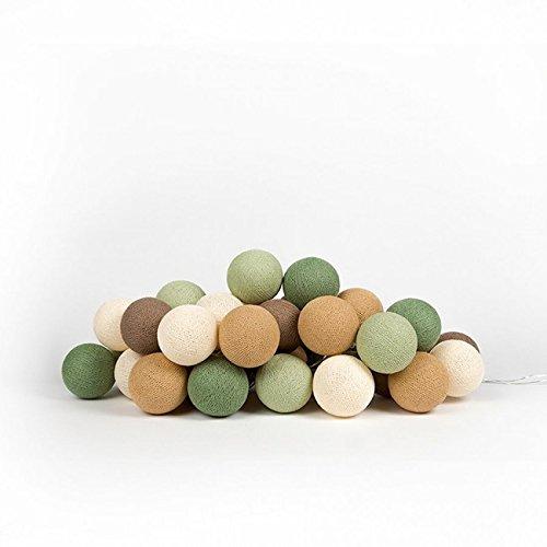 Preisvergleich Produktbild Cotton Ball Lights LED Lichterkette, Baumwolle, Shell/Mais / Grün/Caffe Latte