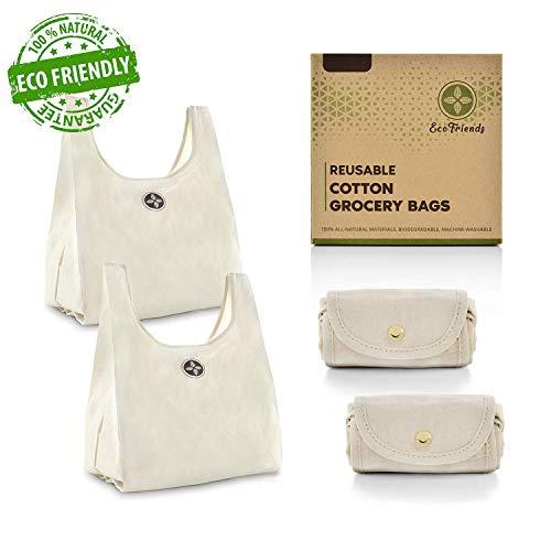 Faltbare Baumwoll-Einkaufstaschen, umweltfreundlich, biologisch abbaubar, wiederverwendbar, 100% natürlich, maschinenwaschbar, groß, 38,1 x 45,7 cm, ohne Plastik, Nylon und Polyester -