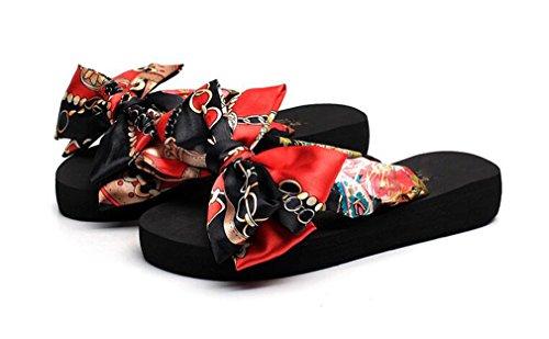Sommer rutschfeste Sandalen weibliche Hausschuhe für Frauen Flip-Flop Böhmen Plattform Indoor Flip Flops Hausschuhe Bogen 1 11 (Bogen Seide Tasche)
