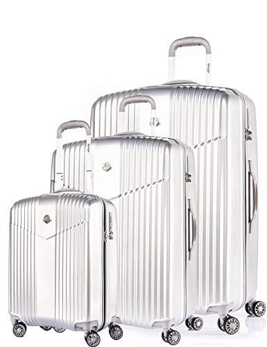 LEICHTGEWICHT Reisekoffer 3er SET Hartschale TSA integriert S-19'(37L)+M-24'(66L)+L-28'(97L) von Verage V-LITE, 4 Rollen ABS/PC Trolley (Grau) mit...