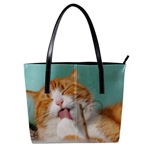 Women's Bag Shoulder Tote handbag with Naughty Cat print Zipper Purse PU Leather Top-handle Zip Bags -