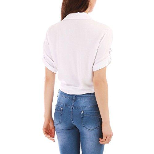 La Modeuse Chemise en Coton Femme à Nouer Grâce Deux Liens Blanc