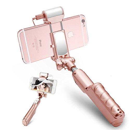 artmark Wireless Bluetooth Selfie Stick con luce LED, pieghevole allungabile Selfie Stick monopiede torcia, Specchio, per iPhone 6s/6/6Plus e altri smartphone