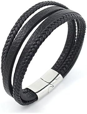 icatcher® Jewelry Elegante Herren Echt Leder Armband schwarz geflochten und uni mehrere Band Titan Stahl nickel...