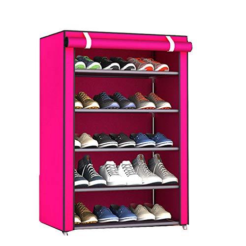GEXING Shoebox Schuh Kabinett Provinz Raum Gewebe Staubdicht Kleine  Schuhschrank Schuhregal,Pink 60