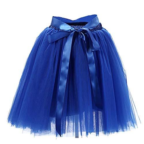 Facent Damen 7 Schichten Knielang Tüllrock Tutu Tüll Kleid Rock Reifrock Abendrock - Cookie Monster Kostüm Frauen