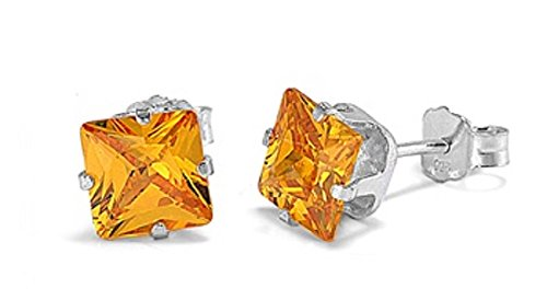925 STERLING SILVER CUBIC ZIRCONIA CZ CITRINE / YELLOW SMALL SQUARE 4MM STUD EARRINGS. UNISEX. BRAND NEW & BOXED.