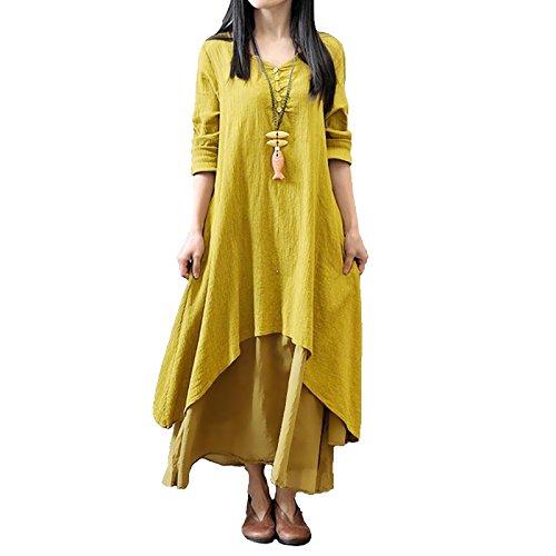 Romacci Women Boho Dress Casual Irregular Maxi Dresses Vintage Loose Long Sleeve Cotton Linen Dress,