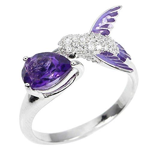 Lsgepavilion Damen offener Ring, Vogel-Wassertropfen, künstlicher Amethyst, Zirkonia, Verlobungsring, Ehering, Schmuck violett (Kreativ Billig Paare Kostüm)