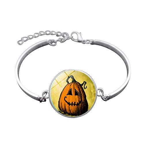 Blisfille Handgemachte Halloween Hexe Zeit Gem Armband Silber-Legierung Armband Armband Herren Damen Fest (Michael 1978 Halloween)
