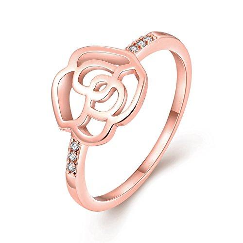 Joyería de moda MARLOCA amarillo 18 K chapado en oro rosa y diamantes de imitación de cristal anillos de boda anillo de compromiso