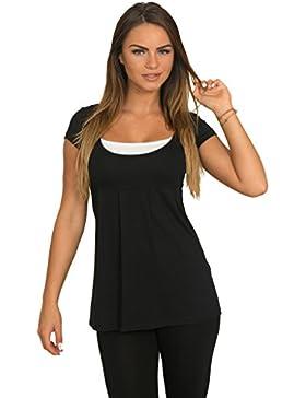 Fancy That Clothing Túnica de la mujer Loose Fit Trendy verano Top