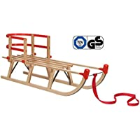 Impag® Klassischer Davos-Schlitten Rodel   100-125 cm lang   stabiles Buchenholz   belastbar bis 110 kg   mit Zuggurt und Sicherheits-Rückenlehne   TÜV geprüft
