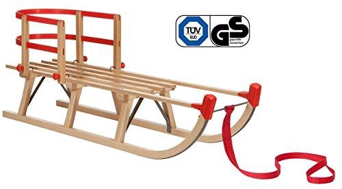Impag® Klassischer Davos-Schlitten Rodel | 100 - 125 cm lang | stabiles Buchenholz | belastbar bis 110 kg | mit Zuggurt und Sicherheits-Rückenlehne | TÜV geprüft