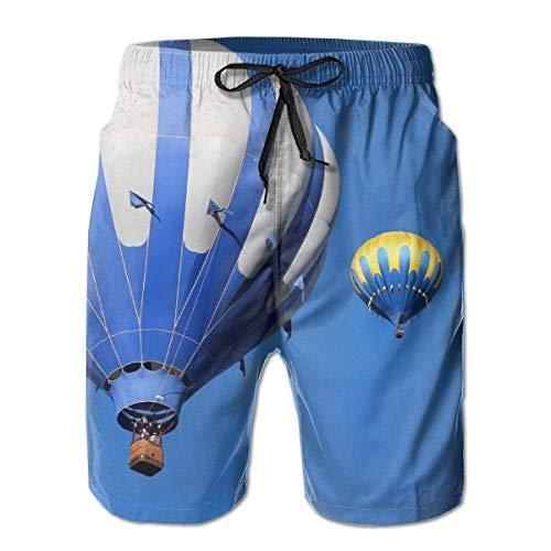 DPASIi Men's Swim Trunks Hot Air Balloon Blue Sky Surfing Beach Board Shorts Swimwear X-Large -