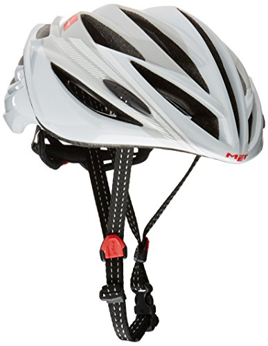 MET Forte Casco de Ciclismo, Unisex Adulto, Blanco,Plateado, 52-59 cm