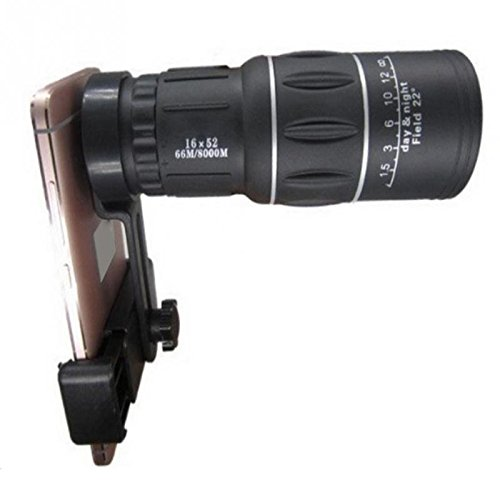 SJSXTLLL 16x52 Telescope Monocular Hiking Concert Phone Camera Lens 8X 12X Zoom Lens with Clip Universal for Samsung for iPhone Smartphones