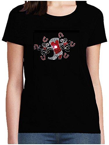 Preisvergleich Produktbild elegantes Damen Shirt Westernstiefel mit Hufeisen kristall rot Cowgirl Western Line Dance Shirt, T-Shirt, Grösse XXXXL, schwarz
