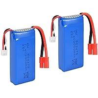 SODIAL(R) 2PCS 7.4V 25C 2000mAh R Plug Battery for Syma X8C X8W X8G Drone Quadcopter