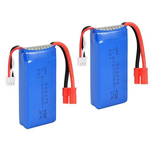 TOOGOO(R) 2PCS 7.4V 25C 2000mAh R Plug Battery for Syma X8C X8W X8G Drone Quadcopter